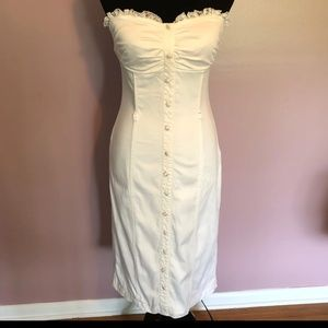 Vintage white dress Small pin up bustier wiggle